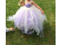 Stunning Flower Girl Dress, Ivory and Lilac, Age 3/4 with bouquet and dolly bag.