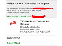 Weekend red camping V festival ticket