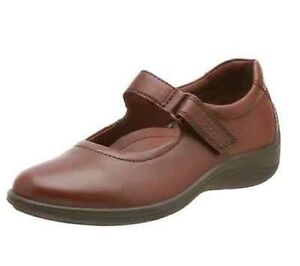 ECCO Globetrotter Mary Janes Leather Shoes Flats-COGNAC sz 8-8.5