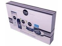 NIVEA Men Sensitive Care Kit Gift Set - Face Wash, Shower Gel, Cream, Shave Balm - Gift Set