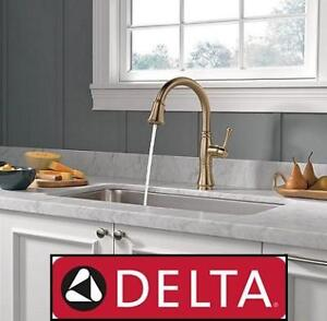 NEW DELTA PULLDOWN KITCHEN FAUCET 9197-CZ-DST 144493019 SINGLE HANDLE CASSIDY CHAMPAGNE BRONZE