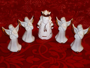 4 Porcelain Angels and a King : Boxed : Never Used ..
