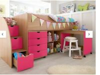 Kids Bed Mid Sleeper Frame with Storage Steps, Desk and Cubes