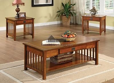 NEW 3PC SEVILLE MISSION OAK FINISH WOOD LIVING ROOM COFFEE & END TABLE SET
