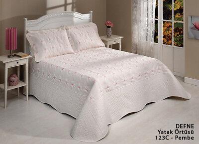 Rose Bettdecke ( Bettdecke Defne rose 3tlg  Tagesdecke Bettüberwurf Set 260x250 Neu)
