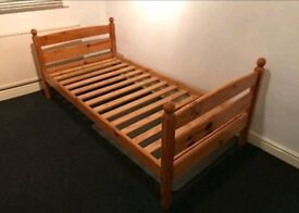 Ikea solid pine single bed frame