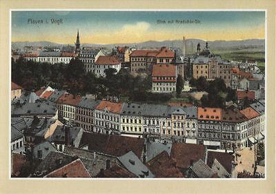 Alte Kunstpostkarte - Plauen - Blick auf Hradschin-Str.