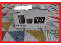 BRAND NEW BOXED CANON EOS M10 BLACK 18MP DIGITAL CAMERA WITH 15-45mm LENS