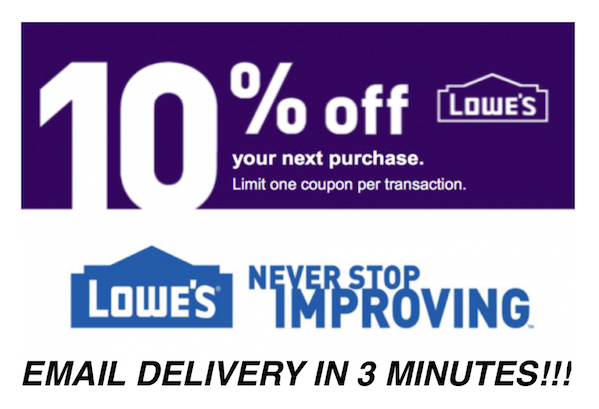 Купить ONE 1x Lowes 10% OFF Coupons Discount - Lowe's In store/online - Fast Delivery