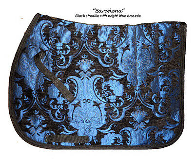 "STUNNING  ""BRIGHT BLUE BLACK"" CHENILLE BROCADE  ENGLISH SADDLE PAD - baroque"