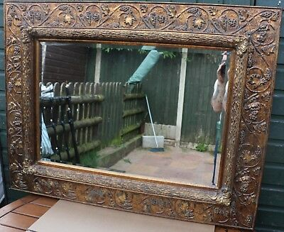 FANTASTIC LOOKING VERY LARGE WIDE ORNATE GILT FRAMED BEVEL EDGED WALL MIRROR