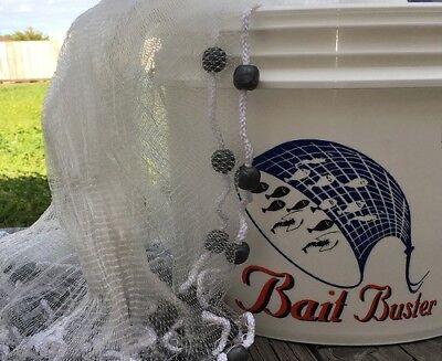 Lee Fisher Bait Buster 6 Glass Minnow Cast Net 3/16 Mesh White Model CBT-BGM6