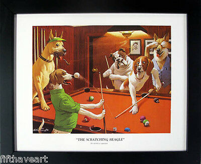 Scratching Beagle Dogs Playing Pool Art Framed Poster 18x22