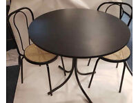 Round Black wooden Table and chairs