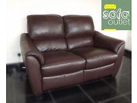 Designer brown leather 3 + 2 seater sofas (78) £999