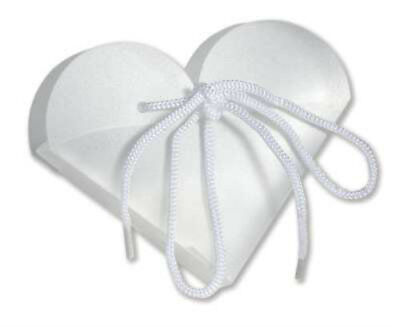 White Frosted Heart Take Out Boxes (10)-  Wedding Baby Shower Party Favor