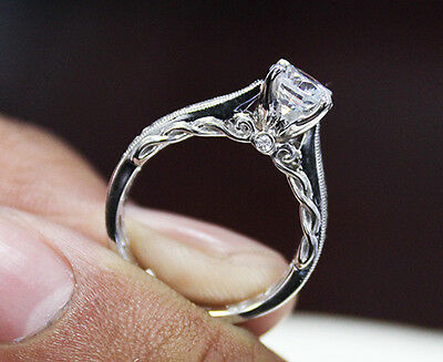 1.50 Ct. Natural Round Cut Scroll Design Pave Diamond Engagement Ring - GIA  1