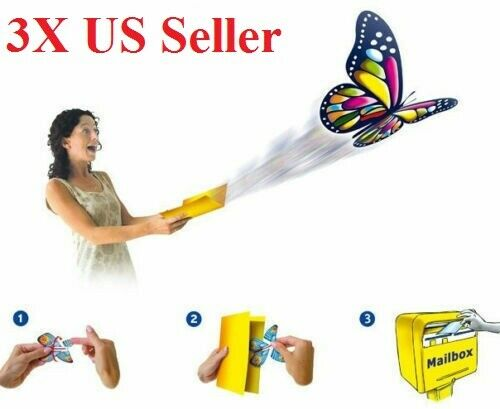 2 Pcs Magic Flying Plastic Butterfly Surprise Birthday Christmas Gift In CA