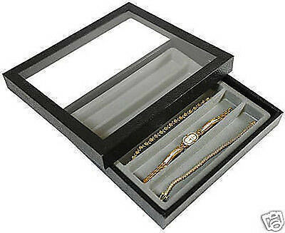 Wood And Acrylic Jewelry Slotted Display Storage Case Divided Bracelet Travel