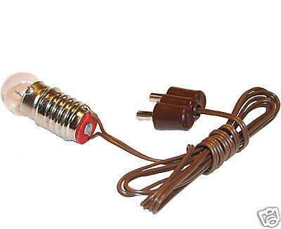 Fassung E10 mit Birnchen,Kabel,Stecker Lampe f.Krippe,Puppenhausbeleuchtung 3,5V