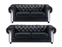 Brand New Chesterfield BLACK 3+2 Sofa Mirrored Arms + Delivery