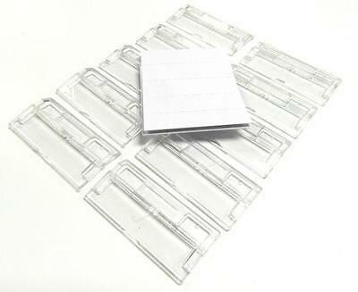 50 x SUSPENSION FILE TABS & INSERTS - CLEAR PLASTIC TABS & WHITE LABELS - £3.99