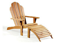 ANTRIONACK Chair with Footrest Wood Outdoor Garden Recliner Sunlounger-Grey-