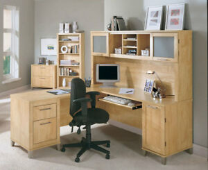 Used Somerset L-Shaped Desk with Hutch, Natural Colour