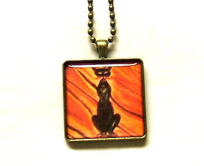 HALLOWEEN BLACK CAT ON ORANGE STRIPED BACKGROUND BRONZE PENDANT NECKLACE](Orange Halloween Background)