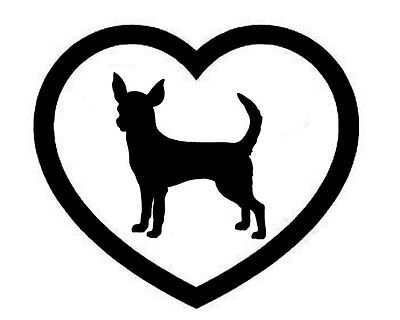 Heart Decal (CHIHUAHUA HEART VINYL DECAL STICKER DOG BREED CHOOSE COLOR/SIZE )