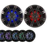"""2-Speakers Kicker 6.5"""" 195W Marine Audio Coaxial Color LED Lights Charcoal Grill"""