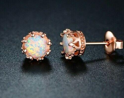 Opal Stud Earrings Rose Gold Post 8mm October Birthstone