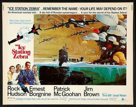 ICE STATION ZEBRA Movie POSTER 22x28 Half Sheet Rock Hudson Ernest Borgnine