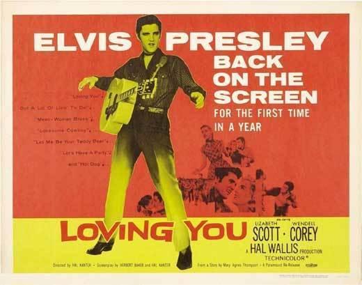 LOVING YOU Movie POSTER 22x28 Half Sheet Elvis Presley Wendell Corey Lizabeth