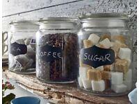 Set Of 3 Writable Glass Storage Jars