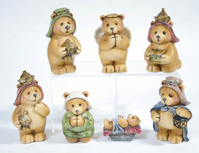 Cute 7 Piece Brown Bear Nativity Christmas Set Indoor Holiday Decor Indoor Nativity Set