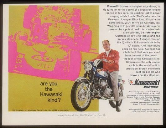 1968 Parnelli Jones photo Kawasaki Avenger 350 motorcycle vintage print ad