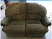 2 seat reclining sofa green