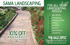 10%off Landscaping,SOD,Interlocking,Patio,Fence* FREE ESTIMATE**