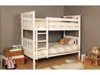 Wooden Pine White Bunk Bed (Heavy Duty)