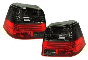 VW GOLF Mk4 CRYSTAL RED & SMOKED REAR TAIL LIGHTS M3