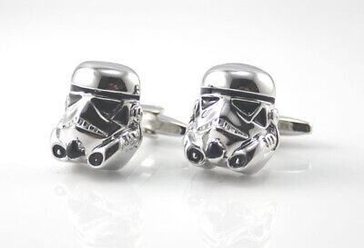Cufflinks Novelty * Movies, Games, TV * Star Wars 3D Storm Trooper Black/Silver