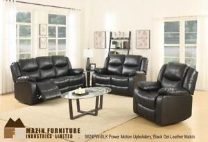 Power Motion Upholstery Recliner Collection in Black Gel Leather MA10 9824PW-BLKUP (BD-1344)