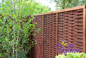 Framed Woven Willow Hurdle Fencing Panel 6ft x 6ft Garden Screening Wooden Fence