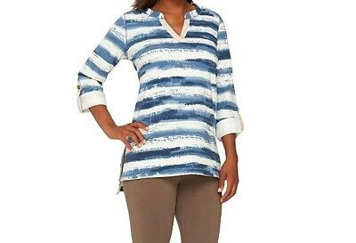 265859 Susan Graver Weekend Striped French Terry Split Neck Top-64,19