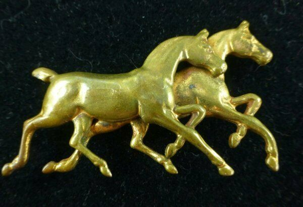 Vintage Brass Tone Horse Pin Brooch Two Horses Stallion Figural