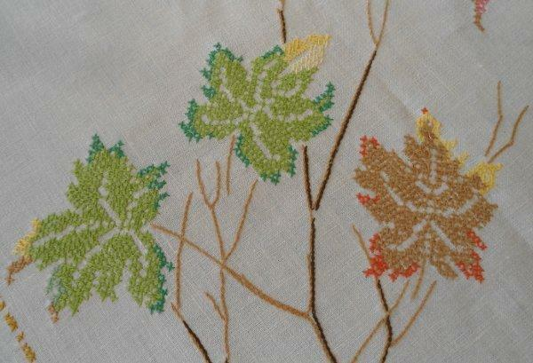 """Vintage Embroidered Tablecloth Maple Leaves Branches Cross Stitch Linen 81"""""""