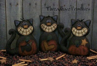 PATTERN Primitive Grinning Halloween Black Cat Ornies w/ Appliqued Pumpkins