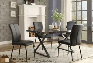HOMETOWN FURNITURE & MATTRESS- Faux Marble Top Dinning Set