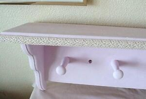 Pink w/ Lace Trim Wood Clothes Rack 5 Shaker Pegs w/ Hat Shelf